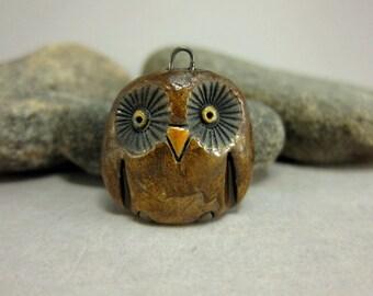 Brown Owl...Raku Pendant