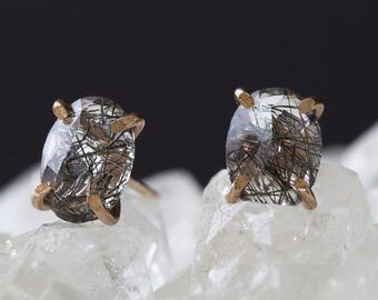 Tourmaline in Quartz Stud Earrings