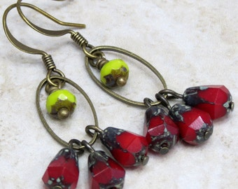 Red Lime Green Rustic Dangle Earrings, Czech Glass Bead Earrings, Cluster Earrings, Bronze Hoop Earrings, Petite Earrings, Boho Chic Jewelry