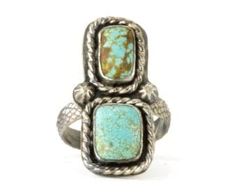 Turquoise Two Stone Ring - Sterling Boho Double Turquoise Ring