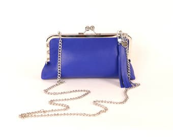 BLUE Leather Clutch ~ Italian Leather Bag ~ Royal Blue Leather Purse ~ Cobalt Leather Handbag ~ Blue CrossBody Clutch~ Blue Leather Wristlet