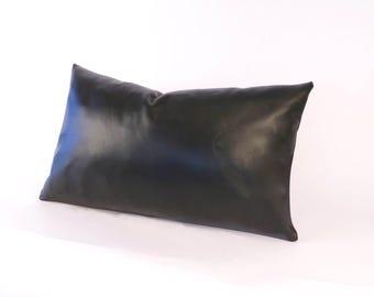 "Black Lambskin Leather Pillow - Mens Black Pillow - Black Rectangular Pillow - ""Antonio"" Black Leather Pillow -  Leather Lumbar Pillow"