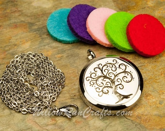 Essential Oil Diffuser Necklace Tree of LIfe 316L Stainless Steel Locket with Chain (19-34-040)
