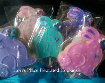 Easter Bunny Cookie Pops - Bunny Cookies - 12 Cookie Pops