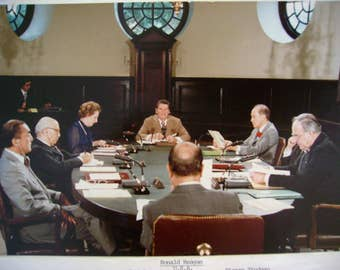 Vintage Original 1983 Color Photograph of Ronald Reagan and Other World Leaders at Williamsburg  Virginia Summit