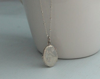 Vintage Inspired Sterling Silver Locket on Beaded Sterling Silver Necklace.