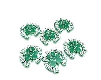 Vintage St. Patrick's Day Cupcake Picks, Cupcake Toppers, Green Shamrocks with Smiles, Vintage Cupcake Pick, Plastic Vintage Picks Set of 6