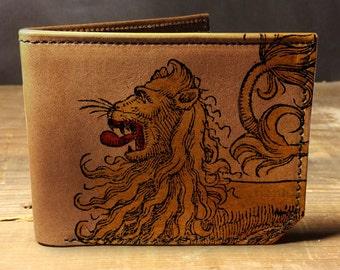 mens leather wallet -wallet - leather wallet - mens wallet - lion roar wallet - 0010