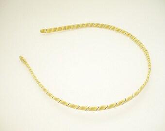Thin headband for woman and girl in yellow brown and white - Stripe Fabric Metal Headband - Teen's headband