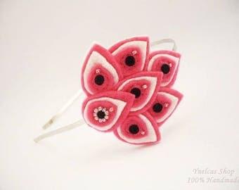 Felt  headband  for women  -  Pink  black white flower leaf headband - Metal headband