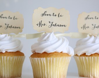 Soon to Be Mrs., Bridal Shower cupcake toppers, Wedding toppers, Bride to be, Custom bridal toppers