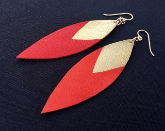 Painted Leather Leaf Earrings - Red Leather and Gold with 14k Gold-Fill