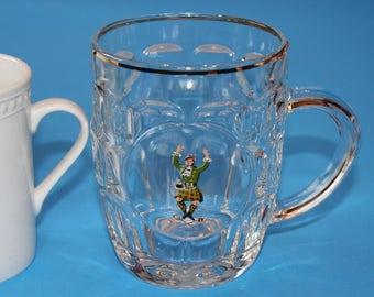 Vintage 16 oz. Glass Mug, Made in France, Scottish Highlander