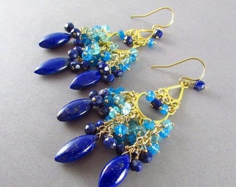 25OFF Lapis Lazuli With Apatite And Gold Filled Chandelier Earrings