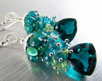25OFF Teal Lampwork Beads With Trillion Cut Teal Quartz, Peridot and Sterling Silver Earrings, Peacock Earrings