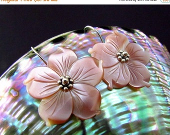 20 Off Blush Pink Mother Of Pearl Floral Sterling Silver Earrings