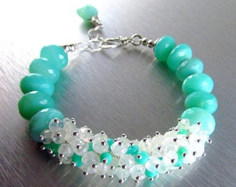 20 Off Peruvian Opal and Moonstone Chunky Cluster Bracelet