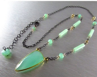 25% Off Aqua Chalcedony With Chrysoprase and Mixed Metal Necklace