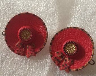 vintage barrette, red hats , rare pair