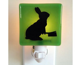 Funny Bunny Rabbit Night Light - Hand Painted Fused Glass - Humor