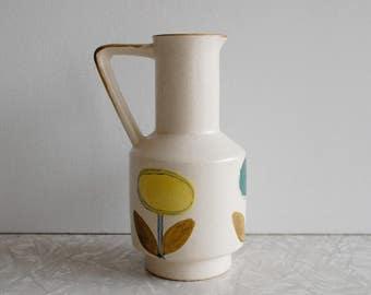 midcentury mod pitcher, small ceramic pitcher, flower design, floral vase, marimekko style graphic design, vintage pitcher, made in japan