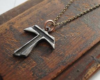 TAU Cross Jesus Open  Heart . Tau Cross solid pewter.  metal Jewelry tau cross francis franciscan Tau cross
