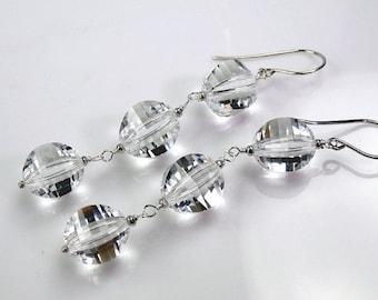HALLOWEEN SALE Clear Crystal Long Dangle Earrings Sterling Silver Wire Wrapped Quartz Jewelry Long White Wedding Earrings Boho Beach Bride