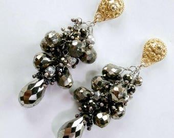 SPRING SALE Pyrite Earrings Long Wire Wrap Cluster Earrings Pyrite Tassel Earrings  Pyrite Chandelier Earrings Statement Gold Post Earrings