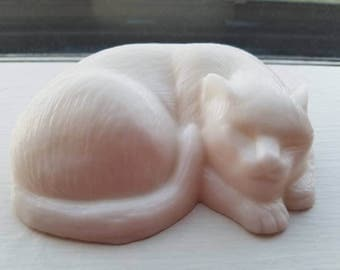 White Cat Soap, Sculpture Style, 20% Dedicated to Cat Causes