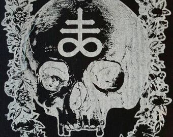 LEVIATHAN II - Black and SILVER Skull Floral Backpatch