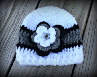 Crochet Baby Girl Hat, Newborn Baby Girl Beanie, Baby Girl Crochet Hat, Infant Baby Girl Hat, Baby Girl Hat, Gift (Ready to Ship)