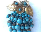 Fantastic Miriam Haskell Cascading Beadwork Clip in Turquoise
