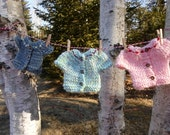 Set of 3 Knitted Cardigan Doll Sweaters