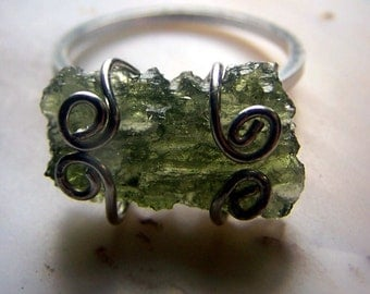 Besednice Moldavite Sterling Silver Ring size 9 - AAA top quality museum specimen - genuine natural crystal tektite wire wrap Czechoslovakia