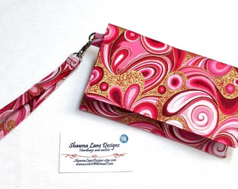 women's wallet, affordable gift, wristlet, red pink gold swirls fabric wallet, small purse, cell phone accessory, small handbag