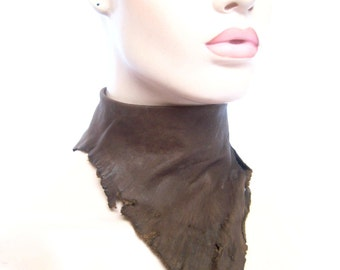 Unisex leather collar choker scarf wrap bib, rugged collar, natural primal leather, Hand Distressed by Renegade Icon designs