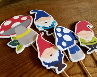 Gnome Garden Party - Set of 12 Assorted Gnome Cupcake Toppers by The Birthday House