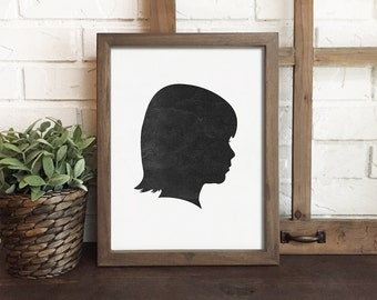 rustic silhouette portrait, custom silhouette art, childrens silhouette print, personalized family art, farmhouse decor, frame not included