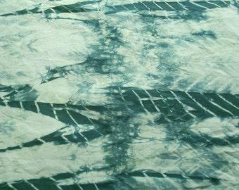 Teal Green Shibori Quilt Fabric, Organic Cotton Quilt Fabric, Fat Quarter Quarter Yard, Green Shibori Material
