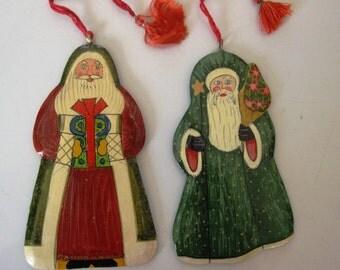 Vintage Pair Of Hand Painted European Santas For Your Tree or Display
