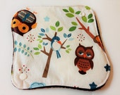 One 8 Inch Minky Topped Winged Cloth Menstrual Pad - PUL Inside - Hoot Hoot Owls and Animals