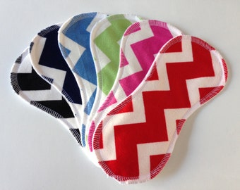 6 Cotton Wingless Contour Cloth Liners - Chevron Minky Variety Set