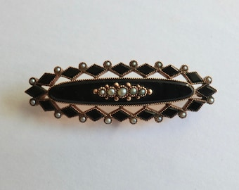 Victorian GF Mourning Brooch Jet and Seed Pearls Pin