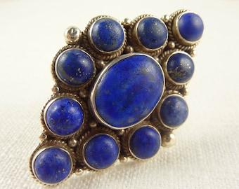 Size 8.25 Vintage Sterling Large Lapis Ring