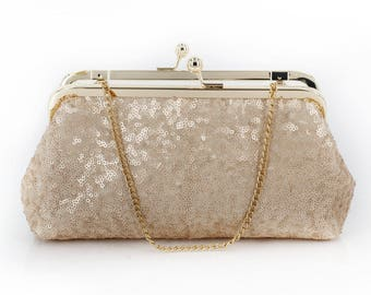 Blush Champagne Sequins Tulle Clutch | Bridesmaids | Mother's Clutch