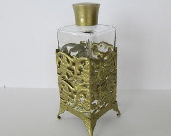 Gold Filigree Glass Perfume Bottle