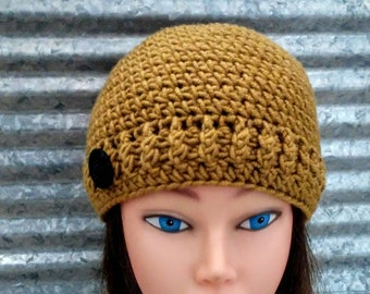 Chunky Crocheted Hat with Black Plastic Button Honey Color