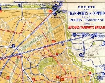 Large Antique Transportation Map of Paris - 1924 Vintage Map
