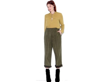 omg GREEN SUEDE PANTS / buttery soft faux suede forest green pants high waisted pants elastic waist pants trousers vegan leather pants