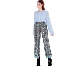 stunning vintage PAISLEY PANTS with animal print / turquoise damask tapestry look fabric / high waisted pants dress pants trousers
